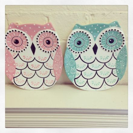 Folk Owl Decorative Dish - Light Teal & Pink